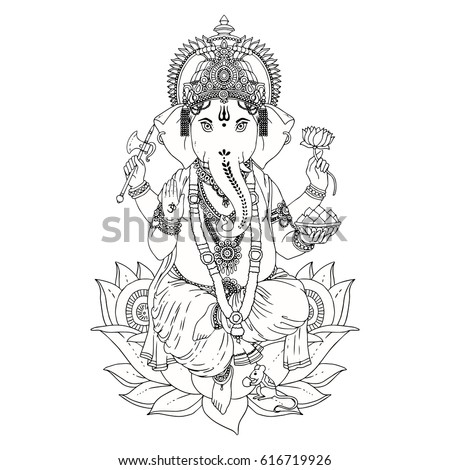 Dancing Hindu Lord Ganesha Vector Illustration Vector de stock ...