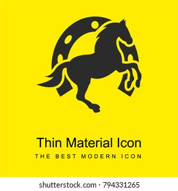 Dancing horse and horseshoe background bright yellow material minimal icon or logo design
