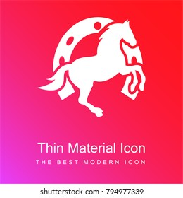 Dancing horse and horseshoe background red and pink gradient material white icon minimal design