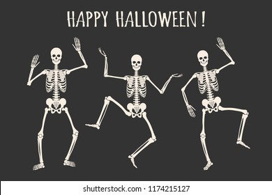 Dancing human skeletons. Happy Halloween. White skeleton silhouettes isolated on black background. Vector illustration