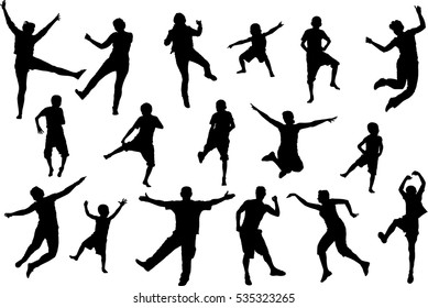 Dancing and jumping childrens and adult people, beach party silhouette set
