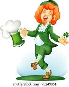 Dancing leprechaun with goblet of green beer and three leaf shamrock. Colored. file include meshes, transparency. eps10