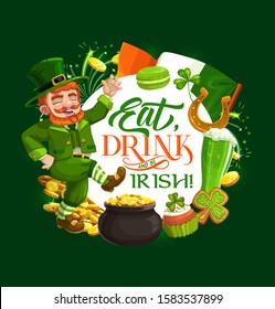Dancing leprechaun vector design of St Patricks Day Irish holiday. Green shamrock, gold and lucky horseshoe, golden coins pot, flag of Ireland, clover leaves and celtic elf treasure cauldron
