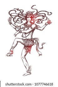 Dancing Lord Shiva. Transcendental divine cosmic dance. Mahashivratri Poster. Isolated hand drawn Vector sketch