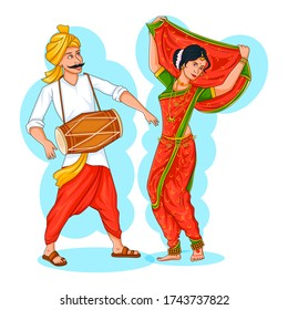 Dancing Maharashtrian couple doing Lavani dance from Maharshtra of India in vector
