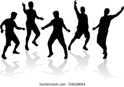 Dancing male silhouettes.