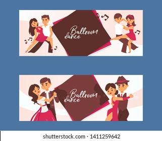 Dancing man and woman ballroom, sports dances. Tango, waltz, Latin American dances vector illustration. Dance studio. Dancing couple background banner, flyer, invitation, brochure poster.
