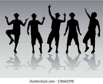 Dancing men silhouettes