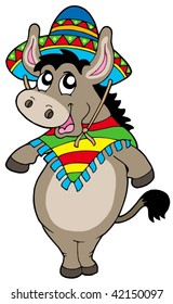 Dancing Mexican donkey - vector illustration.