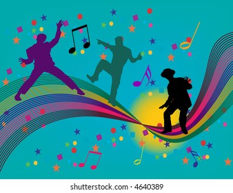 Dancing on a rainbow are three silhouettes in this vector illustration.