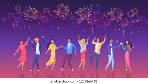 Dancing party people, New year party celebration vector illustration