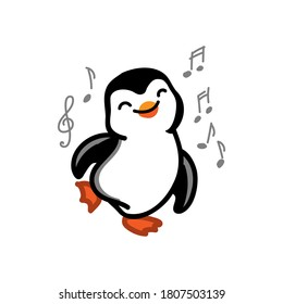dancing penquin on the white background