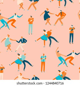 Dancing people in 50s retro style seamless pattern in vector. Cartoon romantic characters activity illustration.