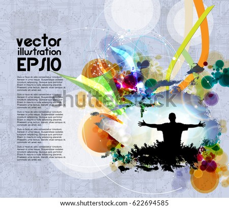 Dancing People Background Music Event Poster Stock Vector Royalty