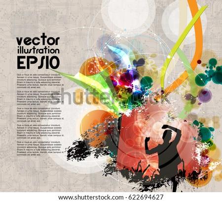 Dancing People Background Music Event Poster Stock Vektorgrafik