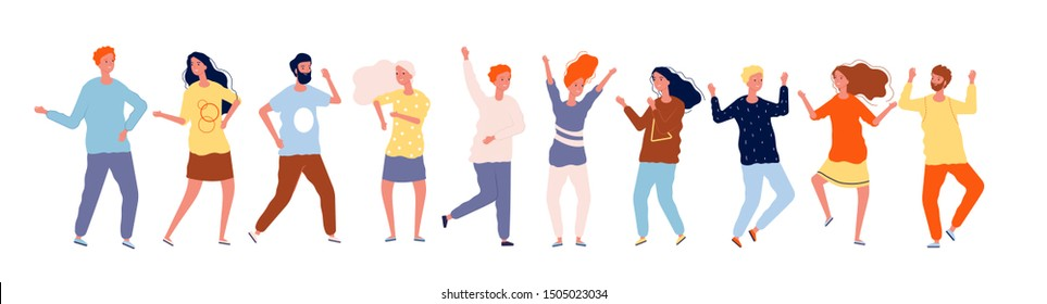 Dancing people. Characters crowd party dancing happy adults male female vector illustrations