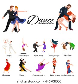 Dancing People, Dancer Bachata, Hiphop, Salsa, Indian, Ballet, Strip, Rock and Roll, Break, Flamenco, Tango, Contemporary, Belly Dance Pictogram Icon style of design concept set