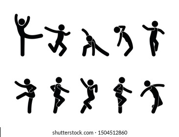 Dancing people in different poses, a set of stick figure people silhouettes, stickman icon, human pictograms fun.