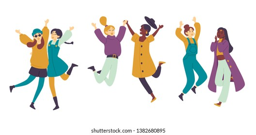 Dancing people, female dancers Asian girls having fun. Young women enjoying dance party.