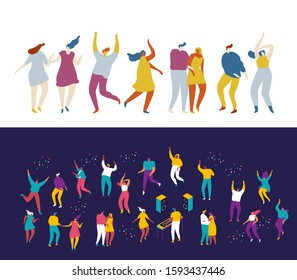 Dancing people flat vector set.Young people having fun.Party. Celebration.