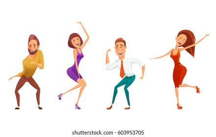 Dancing people funny cartoon style icons collection, isolated vector illustration. Men and women in free poses