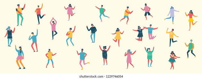 Dancing people, happy men and women dancing in to the music. Vector illustration in a flat style