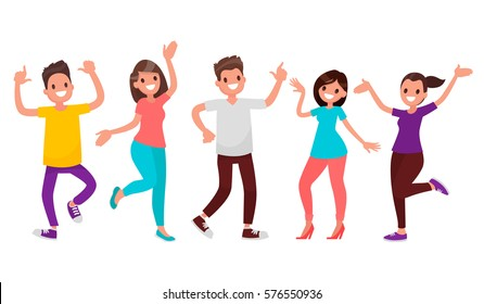Dancing people. Happy men and women move to the music. Vector illustration in a flat style