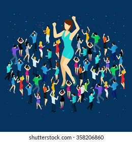 Dancing people isometric concept with men and women on blue background vector illustration
