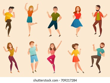 Dancing people moves retro icons of young men and women moves 2 banners set isolated vector illustration