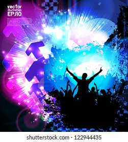 Dancing people. Music poster. Vector