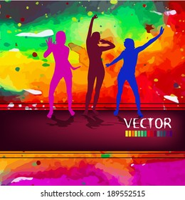 dancing people on a watercolor background . Vector