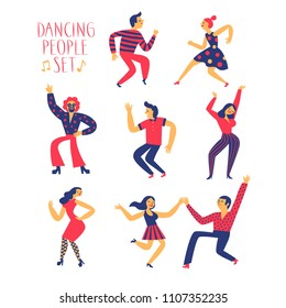 Dancing people set. Colorful cartoon illustration for your design.