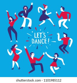 Dancing people set. Let's dance title. Cartoon illustration for your design.
