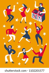 Dancing people set. Party with DJ poster. Cartoon illustration for your design.