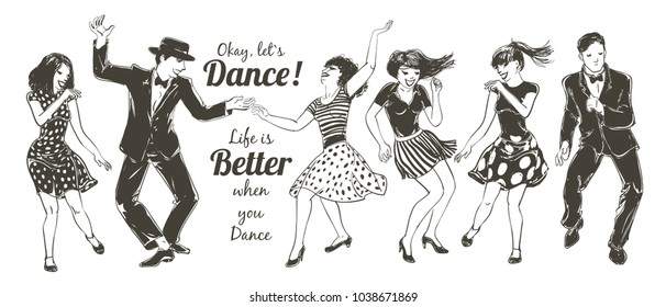 Dancing people Set. Young couple dancing swing, charleston. Retro style party. Vector sketch illustration.