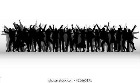 Tanzende Menschen Silhouetten.
