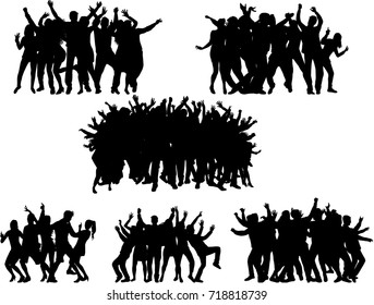 Dancing people silhouettes.