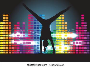 Tanzende Menschen Silhouetten.Abstrakter Hintergrund.