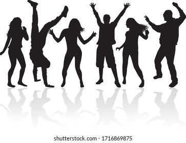 Tanzende Menschen Silhouetten. Konzeptgrafik