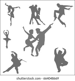 Dancing people silhouettes, set of nine characters - hand drawn cartoon vector illustration