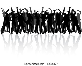 dancing people silhouettes - vector