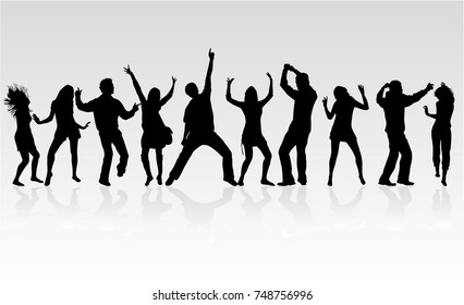 Tanzende Menschen Silhouetten. Vektorgrafik.