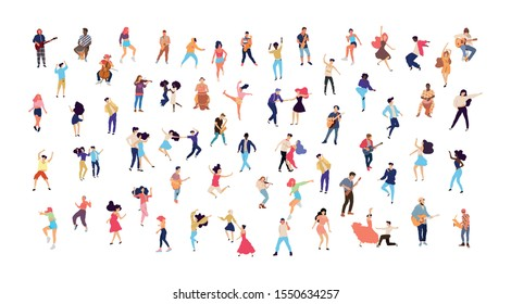 Dancing people vector isolated illustration. Musicians flat illustration