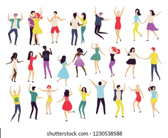 Dancing people, waltz classic and modern dance vector. Contemporary style, teenage jumping in air, solo performance. Pair man woman wearing costumes
