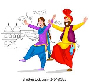 Punjabi culture images stock photos vectors shutterstock dancing punjabi couple of india in vector malvernweather Images
