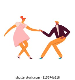Dancing  rock n roll and swing characters of 50s illustration in vector.
