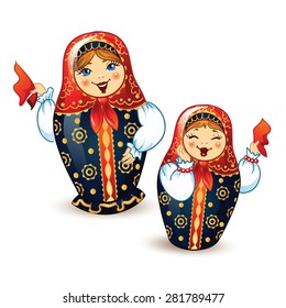 Dancing Russian Dolls Matrioshka.  Russian nested dolls. Babushka dolls. Russian Souvenir, present.