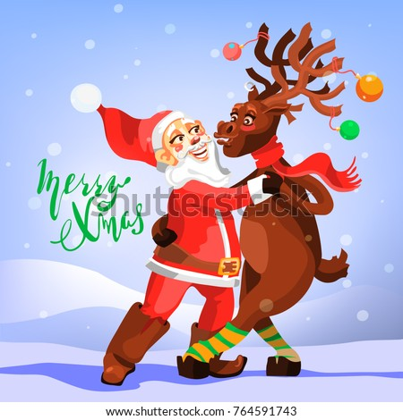 e35604b9f28a7 Dancing Santa Claus with Christmas Reindeer. Funny and cute Merry Christmas  greeting card. Tango
