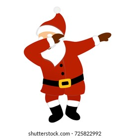 Dancing Santa Claus hipster style vector illustration, standing, making dab move, popular young teenage culture, funny character for hype Christmas web design, print, party card, poster, animation.