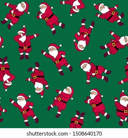 Dancing Santa Claus seamless pattern. Funny Santa cute vector illustration. Cartoon Christmas character disco dancer. Dab move, hype dance. Floss like a boss. Wrapping paper gift card funny design.